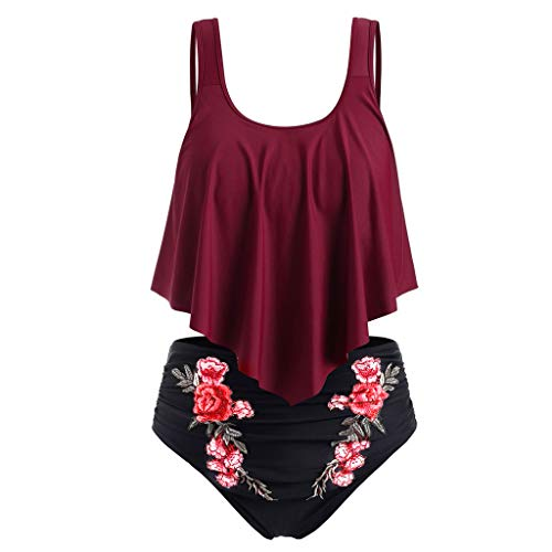 Lulupi Damen Zweiteiliger High Waist Bauchweg Bikini Tankini Set Vintage Blumen Volant Badeanzug Große Größen Push Up Bademode Beachwear Strandmode Gr.L-5XL