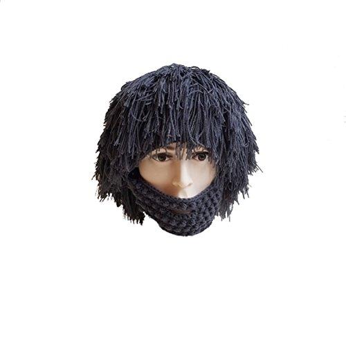 Touca de inverno OULII para peruca e chapéus de tricô, máscara de barba, quente, gorro divertido para homens e mulheres (cinza)