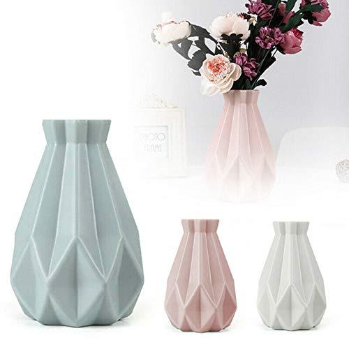 Soolike Kunststoff Vasen, 3 Stück Moderne Dekorative Blumenvase, Dekorative Desktop Ornament Kunststoff Vase für Küche Wohnzimmer Schlafzimmer Office Das perfekte Muttertagsgeschenk (B)