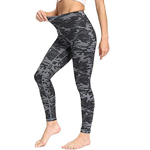 Marijee - Pantalón de yoga para mujer, cintura alta, anticelulitis, ajustado camuflaje XXL
