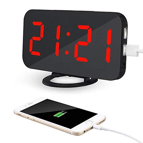 AITOO 電子時計 目覚まし時計 置き時計 アラーム時計 大型LED ミラー表面デザイン 卓上 壁掛け両用 デジタル おしゃれ 小型led時計 三段輝度調節 鏡用アラーム用 USBポート付き スマホ充電 (黒・赤字)