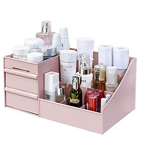 Caja de almacenamiento de cosméticos Transparente, Organizador de maquillaje Soporte Cepillo Lápiz labial Cajón Bandeja de joyería Estante Perfumes Cuidado de la piel Mesa Tocador de encimera Coc