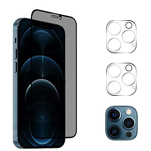 "AiMok [1 Stück] Privacy Panzerglas Kompatibel mit iPhone 12 Pro Max [6.7\""] + [2 Stück] Kamera Panzerglas Schutzfolie, [Anti-Spy] [Kratzfest] [Doppelschutz] 9H Härte Blickschutzfolie"