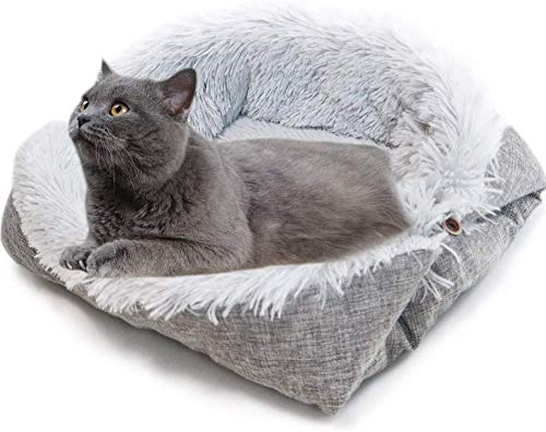 ToKinCen 2 in 1 tappetino per gatti auto-riscaldante peloso letto per animali domestici pieghevole...