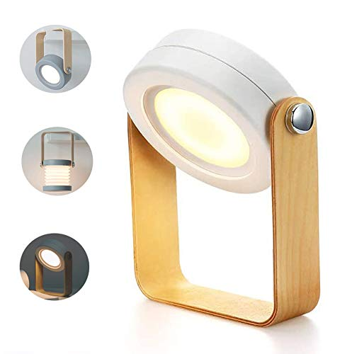 AEUWIER Lámpara de mesa plegable, lámpara de escritorio en forma de farol, luz de noche para niños, portátil, 3 modos LED luz blanca cálida con batería interna recargable