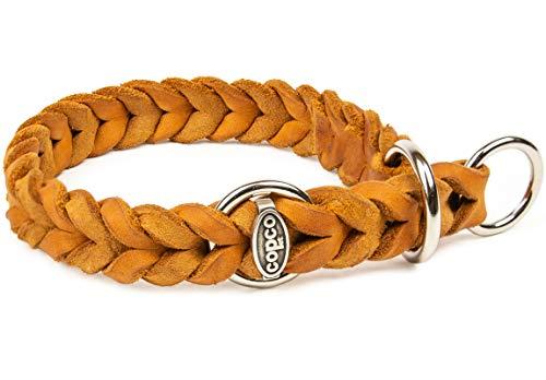 CopcoPet - Fettlederhalsband geflochten mit verchromten Zugstop-Ring, Cognac 25-30 cm x 15 mm