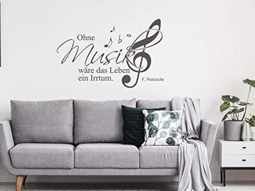 Wandtattoo Musik Notenschlüssel mit Spruch Ohne Musik wäre das Leben ein Irrtum / 88x57cm / 070 schwarz