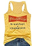 Photo de Débardeur pour Femme Blood Marys Breakfast of Champions avec Impression de Lettre Graphique à Dos Nageur - Jaune - Taille XL