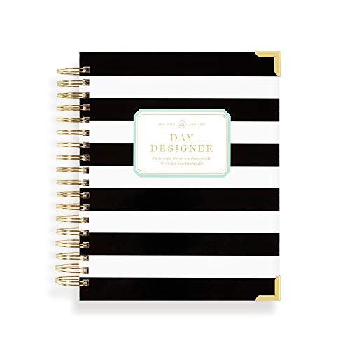 """Day Designer 2021-2022 Academic Year Daily Planner, Life and Goal Yearly Planner, Durable Black Stripe Hardcovers, Spiral Bound, 9"""" x 9.75"""" Overall…"""