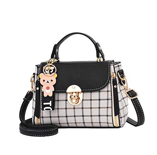 LUUT Mode Schultertasche Damen Nähte Handtasche Kariert Platz Messenger Bag Kawaii Ledertasche Lässig Shopper Citytasche (Schwarz)