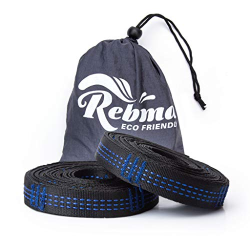 Rebma Products Hammock Straps XL – Camping Tree Friendly Straps Set 2 Straps & Carrying Bag - 20ft
