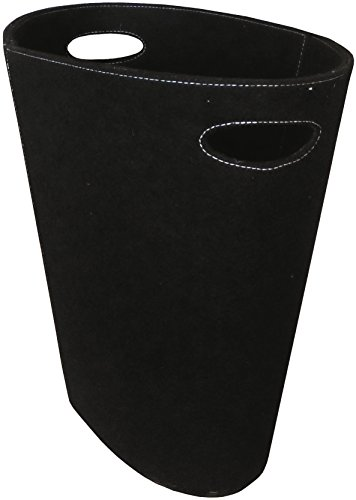 Lienbacher Corbeille à bûches ovale en feutre Noir 48 x 45 x 27 cm