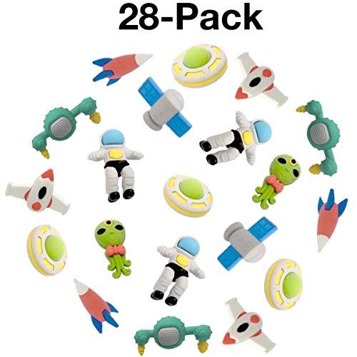 Bleistift-Radiergummis, Uooker 3D Outer Space Bleistift-Radiergummis Puzzle-Radiergummis für Party Favors Supplies Classroom Treasure Box Preise, Packung mit 28, zufällige Farbe