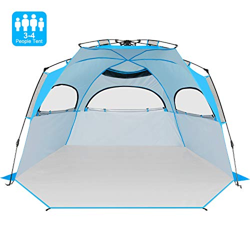 Victostar Easy Setup Beach Tent, Automatic Pop up Instant Sun Shelter with UPF 50+ UV Protection for Family Outdoor Beach Camping (XL with Extendable...