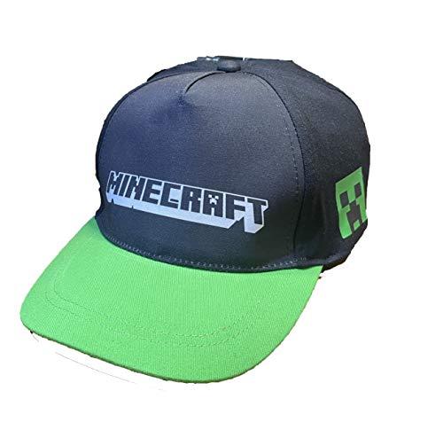 MINECRAFT Original Kappe mit verstellbarem Schirm und Riemen, Schwarz, Grün 56 cm