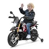 Costway Moto Electrique 12V pour Enfants 3 à 8 Ans avec Lumières LED, Avant et Arrière, Musique MP3 et 2 Roues Auxiliaires Antidérapantes, 110 x 57 x 71CM, Charge Max 25KG, Rouge et Noir