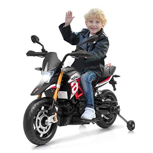 Costway Moto Electrique 12V pour Enfants 3 à 8 Ans avec Lumières LED, Avant et Arrière, Musique...