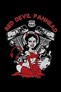 Red Devil Panhead Route 666 American Motorcycle V-Twin: Harley Davidson Pan Head Motorcycle Engine Blank Lined College Rul...