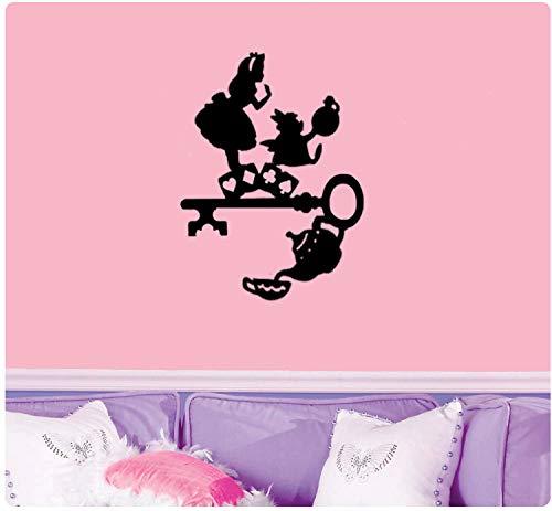 Alice in Wonderland met sleutel en theepot Muursticker
