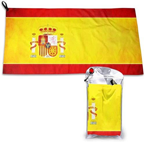 LBTD Toalla de microfibra de secado rápido de la bandera de España, superabsorbente, apta para senderismo, viajes, camping, playa, mochilero, gimnasio, deportes y natación de 15.7 x 31.5 pulgadas.