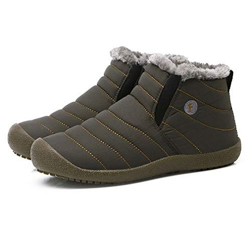 Botas de Nieve Unisex Zapatos de Calentamiento de Color sólido Botines sin Cordones Zapatos de Pareja para Hombre Mujer Zapatos de Invierno al Aire Libre Gris, 41 Uniquelove