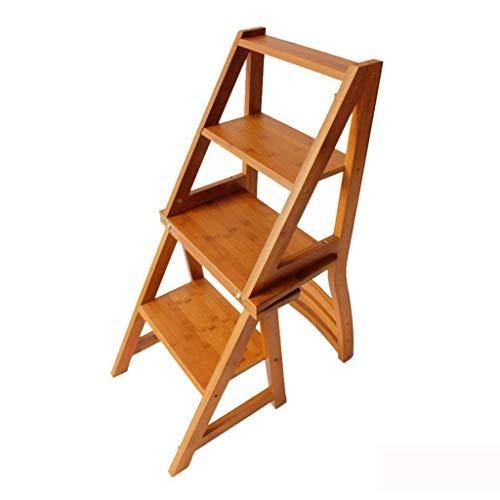 QFQ Taburete de paso, Hogar sencilla y elegante escalera plegable de múltiples funciones del taburete que suben creativa de madera sólida Plus Volver escalera silla de la cocina Interior del dormitor