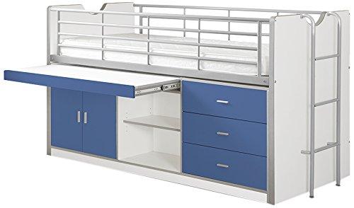 *Vipack BOHS9507 Hochbett Bonny, Circa 207 x 116 x 98 cm, Liegefläche 90 x 200 cm, 07, weiß/blau*