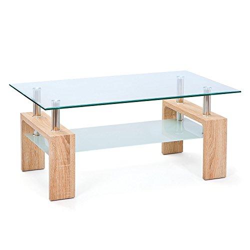 Inter Link 19400020 Couchtisch Glas Sonoma-Eiche Tisch Wohnzimmertisch Beistelltisch 110x60 cm NEU