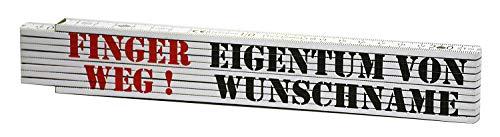 geschenke-fabrik.de Meterstab - 2 Meter Zollstock personalisiert mit Name & Finger Weg als Geschenk für Männer, Papa, Heimwerker zu Weihnachten oder zum Geburtstag