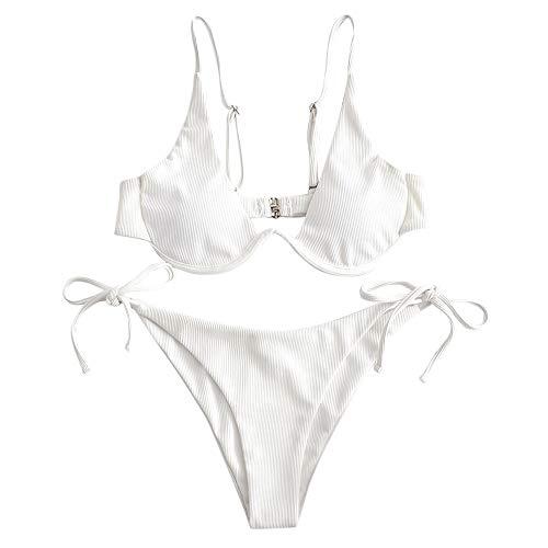 ZAFUL Women's Leopard Print Underwire High Cut Triangle Bikini Set Swimsuit (B-White, S)