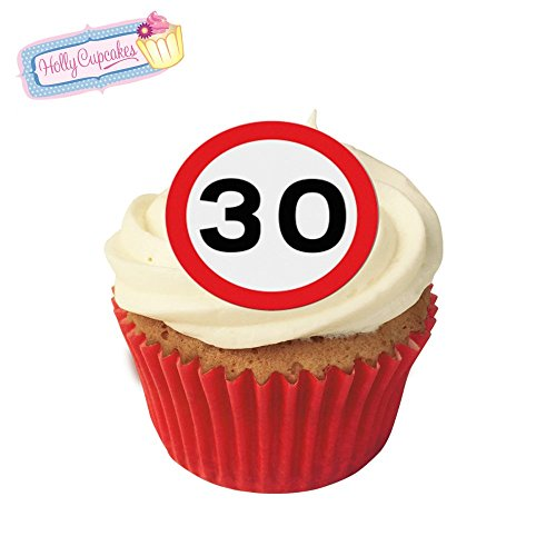 24 Fabulous Pre-Cut Edible Wafer Cake Toppers: 30 Birthday Road Sign