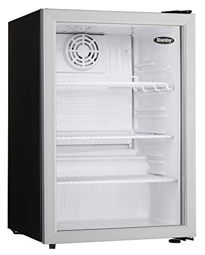 Danby Compact DAG026A1BDB 2.6 Cu.Ft. Commercial Mini Fridge, Glass Door Refrigerator For Office, Countertop, Perfect For Snacks, Soda, Beer, Lunch Foods, In Black, silver