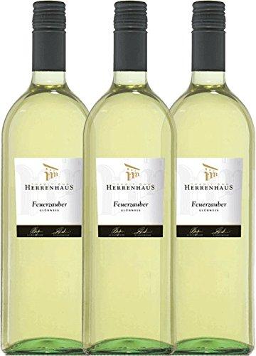 3er Paket - Weißer Winzer-Glühwein Herrenhaus Feuerzauber - Lergenmüller | weißer Glühwein | deutscher Glühwein aus der Pfalz | 3 x 1,00 Liter
