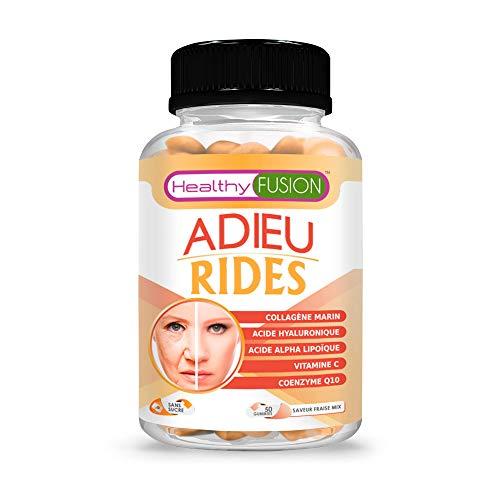 Collagène hydrolysé anti rides avec acide hyaluronique | Anti rides puissant | Coenzyme Q10 + acide alpha lipoic + vitamine C | Traite et prévient les rides | Peau hydratée et sans rides | 50 gummies