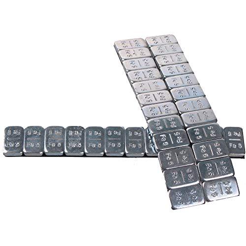 BB-EP Klebegewicht – 4 Riegel a 60 Gramm (12x5 gr.) Auswuchtgewicht – Wuchtgewicht für Alufelgen Silber-Glänzend – 240 Gramm
