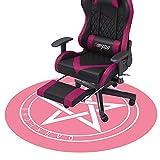 Darkecho Alfombrilla para Silla de Gaming Oficina Protector de Suelo Diámetro 100cm Redondo 5mm Grueso(Rosa)