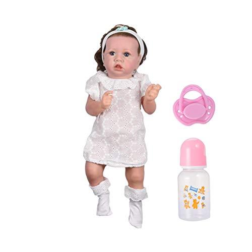 Saskia Silicone Reborn Doll, 20 Zoll Realistic Reborn Babypuppe mit Flasche und Schnuller Real Life Style Silikon Ganzkörpermädchen Comfy Touch Waschbar Neugeborene Anpassung Dress Up Biracial Baby