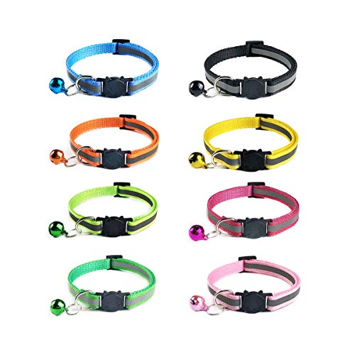 Ymwave 8 Stück Nylon Katzenhalsband Reflektierendes Coole Halsbänder mit Sicherheitsschnalle und Glocke Verstellbar 19–32 cm Coole Halsbänder für Hauskatzen kleine Hunde