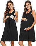 Ekouaer Women's Maternity Dress Pregnant Nursing Elegant Nightgown Breastfeeding Sleepwear (Black, XL)