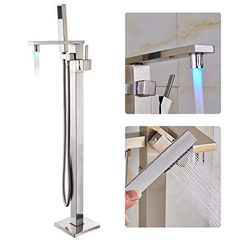 Rozin Nickel gebürstet Freistehende Armatur Badewanne Wasserhahn LED 3 Farbwechsel Drehbarer Auslauf Badewannenarmatur Wannenarmaturen mit Handbrause