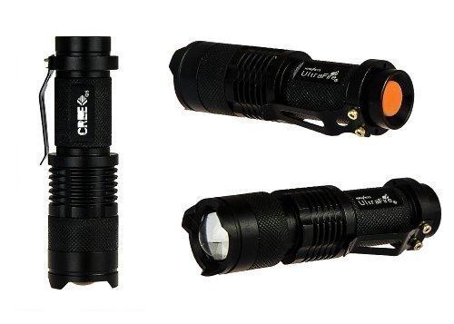 KOBERT GOODS - Mini-LED-Taschenlampe (Cree Q5) - High-Power-Handlampe mit 7 Watt-Leistung bis zu 700 Lumen - aus rutschfestem, wasserdichtem Aluminiumgehäuse, mit Zoomfunktion und 3 Leuchtstufen/Modi