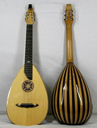 Musikalia Luthery Laute Gitarre, Rippen aus Ahorn und Palisander, lockiger Hals und offene Holzrosette