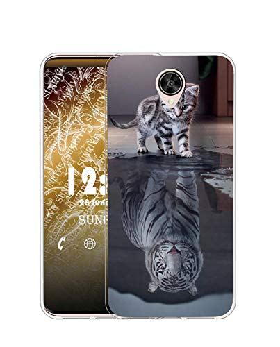 Sunrive Kompatibel mit Meizu M6s Hülle Silikon, Transparent Handyhülle Schutzhülle Etui Hülle (TPU Tiger Katze)+Gratis Universal Eingabestift MEHRWEG