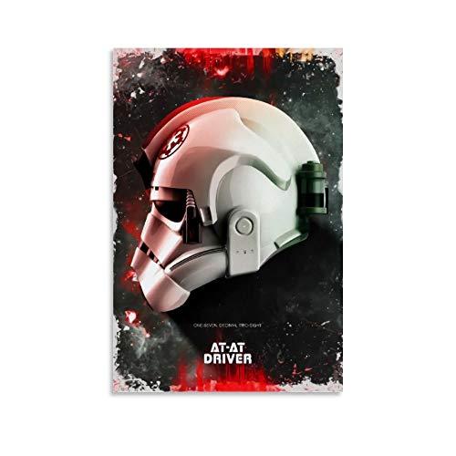 DRAGON VINES Póster de casco de conductor de Star Wars AT-AT, impresión artística sobre lienzo para pared, para decoración del hogar, sin marco, 60 x 90 cm