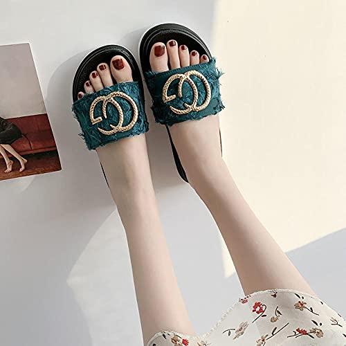 zapatillas deportivas de mujer blancas,Las mujeres usan sandalias de diamantes y zapatillas, verano de moda gruesa, ropa de moda de tela de moda, zapatos de baño de pastel de esponja.-35 (22.5cm / 8.
