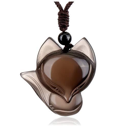 JSDDE Schmuck Fuchs Anhänger Kette Heilung Reiki Mala Amulett Anhänger aus Heilsteine Glücksbringer einstellbar geflochten Halskette für Frauen Herren (EIS-Obsidian)