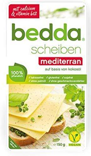 bedda - SCHEIBEN Mediterran 150g Aromatische Pflanzliche Käsealternative Mit Feinen Kräutern 1er Pack