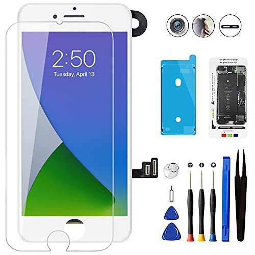 Mobkitfp for iPhone 7 Screen Replacement White with Camera+Sensors+Earpiece Full Assembly 4.7 inch LCD Screen 3D Touch Display Digitizer for A1660, A1778, A1779 with Rapair Tools+Adhesive Strips
