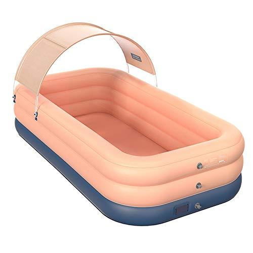 Roeam Planschbecken Groß, Aufblasbare Pool aus Hochwertigem PVC-Material, Gartenpool mit Abnehmbar UV-beständig Decke, EIN-Knopf-Aufblasen, Familienpool