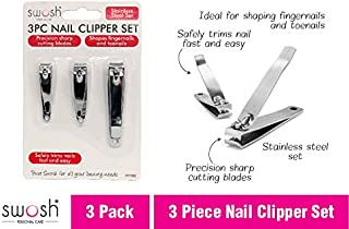 3pc Nail Clipper Set Stainless Steel Manicure Pedicure Finger Toe Clippers Kit